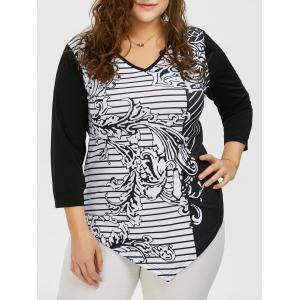 V Neck Plus Size Striped Pattern Asymmetric T-Shirt