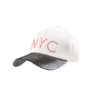 Sequined Brim NYC Embroidered Baseball Hat - White - One Size