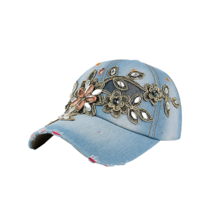 Denim Baseball Hat with Flower Embroidery Rhinestone