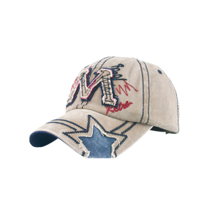 Frayed Letter M and Star Design Baseball Hat - Light Khaki - One Size