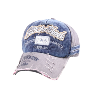 Frayed Edge Baseball Hat with 1969 Embroidery - Cadetblue - One Size