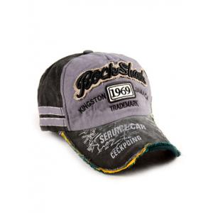 Frayed Edge Baseball Hat with 1969 Embroidery - BLACK ONE SIZE