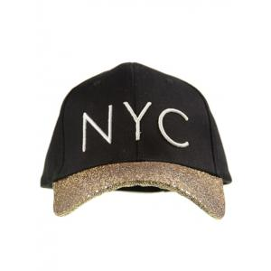 Sequined Brim NYC Embroideried Baseball Hat - BLACK ONE SIZE