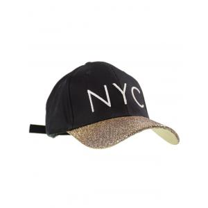 Sequined Brim NYC Embroidered Baseball Hat - BLACK ONE SIZE
