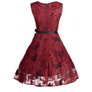 Plus Size Butterfly Jacquard Short Formal Dress - RED XL