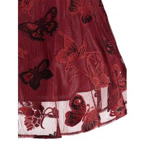 Plus Size Butterfly Jacquard A Line Short Formal Dress - RED XL