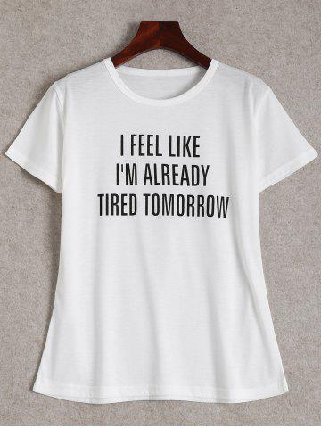 Buy Short Sleeve Tired Tomorrow Graphic Tee - White 2XL