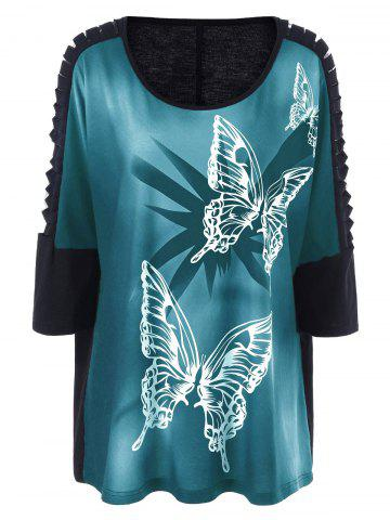 Unique Plus Size Butterfly Print Ripped Long T-Shirt GREEN 5XL