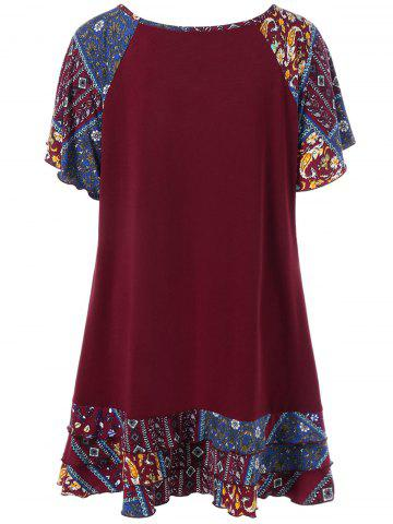 Discount Plus Size Raglan Sleeve Layered Top with Pockets - 3XL DEEP RED Mobile