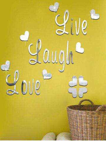 Silver Diy Acrylic Heart Art Decals Mirror Wall Sticker | RoseGal.com