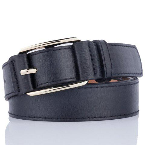 Trendy Plain Pin Buckle Artificial Leather Waist Belt - BLACK  Mobile