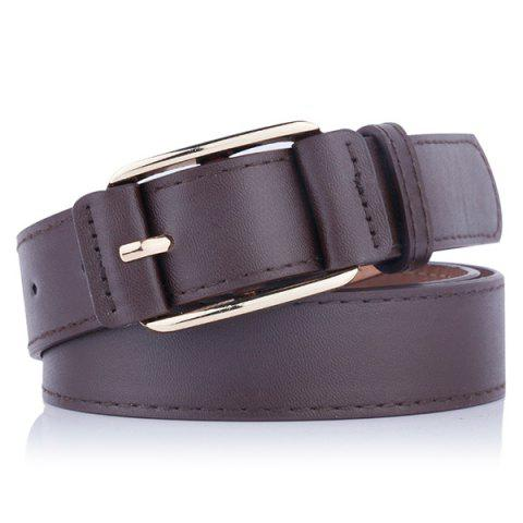 Best Plain Pin Buckle Artificial Leather Waist Belt - COFFEE  Mobile
