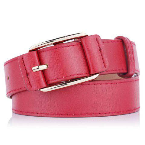 Outfits Plain Pin Buckle Artificial Leather Waist Belt - RED  Mobile