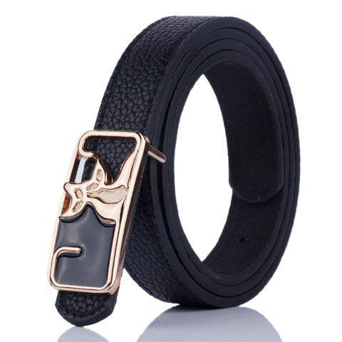 Fancy Faux Leather Double Foxes Buckle Casual Belt - BLACK  Mobile