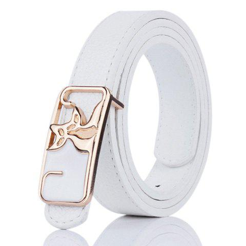 Store Faux Leather Double Foxes Buckle Casual Belt - WHITE  Mobile