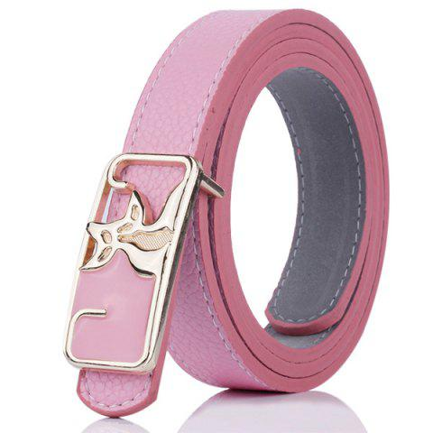 Chic Faux Leather Double Foxes Buckle Casual Belt - PAPAYA  Mobile