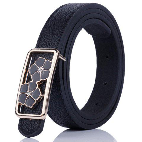 Outfits Double Flowers Buckle Faux Leather Wide Belt - BLACK  Mobile