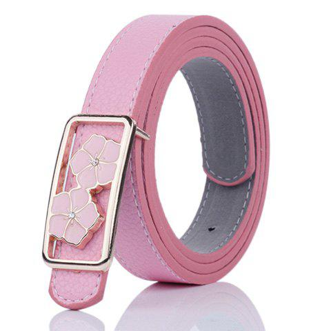 Sale Double Flowers Buckle Faux Leather Wide Belt - PINK  Mobile