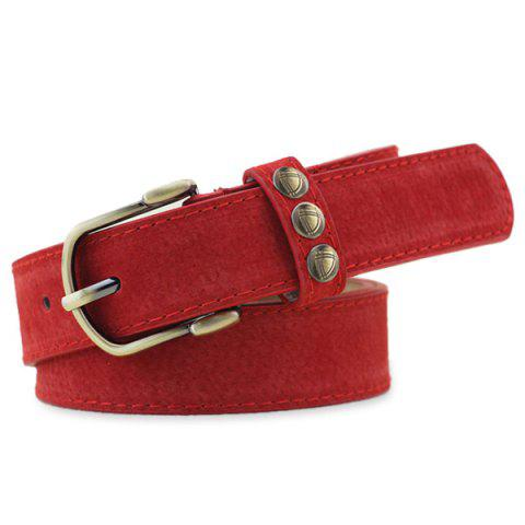 Latest Retro Rivet Embellished Faux Suede Belt - RED  Mobile