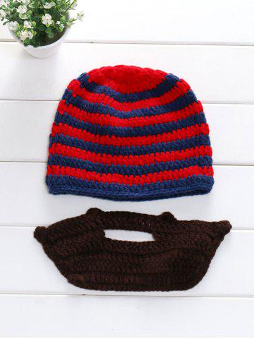 Winter Whimsy Manuel Stripe Acrylique Knitting Beard Hat Set