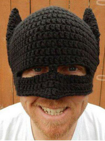 Cheap Knitted Masquerade Cosplay Batman Party Mask Hat - BLACK  Mobile