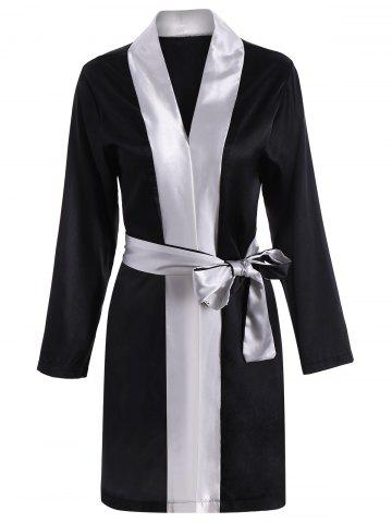 Color Block Wrap Robe - Black - One Size