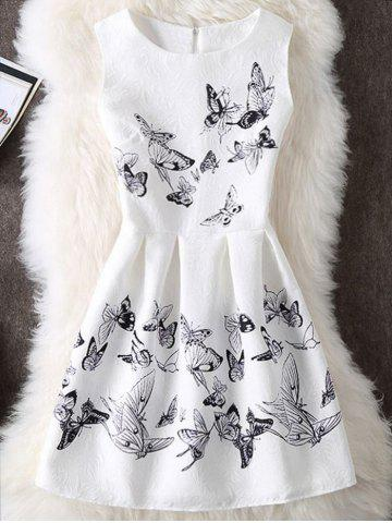 Chic Sleeveless Butterfly Print Cocktail Dress WHITE S