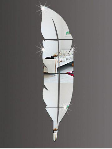 Outfit Feather Shape Home Decor Acrylic Mirror Wall Sticker - 18CM*73CM SILVER Mobile