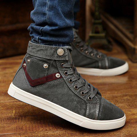 Suede Insert Metal Canvas Shoes - Gray - 39