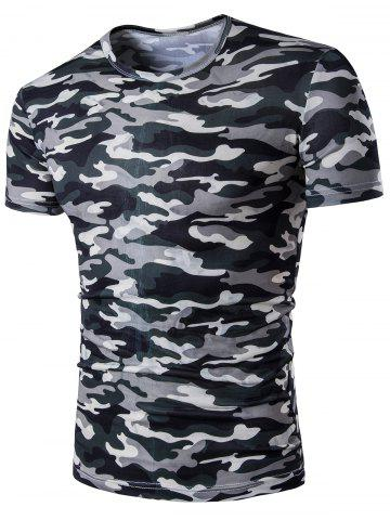 Short Sleeve Camo Army Print T-Shirt - Camouflage - 5xl