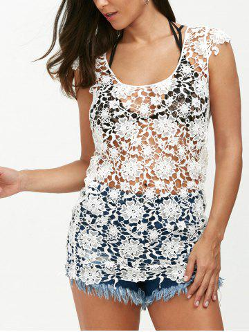 Backless Crochet Lace Floral Tunic Cover Up - White - Xl
