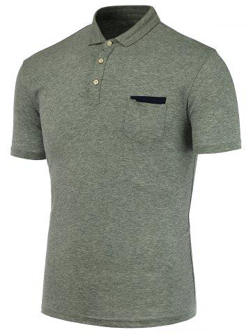 Chic Short Sleeve Polo T Shirt - GRAY XL Mobile