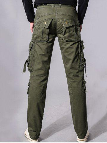 Store Buckle Embellished Zipper Pockets Design Cargo Pants - 38 ARMY GREEN Mobile