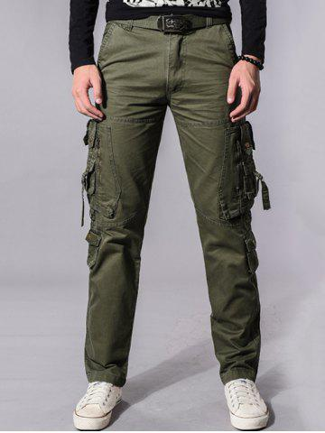 Store Buckle Embellished Zipper Pockets Design Cargo Pants - 36 ARMY GREEN Mobile