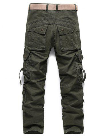 Store Buckle Embellished Zipper Pockets Design Cargo Pants - 34 ARMY GREEN Mobile