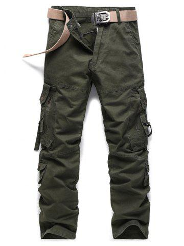 Buy Buckle Embellished Zipper Pockets Design Cargo Pants - 30 ARMY GREEN Mobile