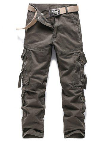 New Buckle Embellished Zipper Pockets Design Cargo Pants - 32 ESPRESSO Mobile