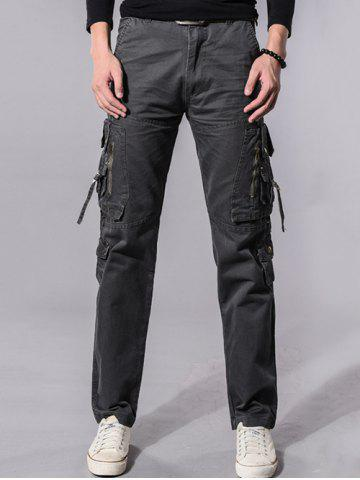 Fancy Buckle Embellished Zipper Pockets Design Cargo Pants - 34 GRAY Mobile