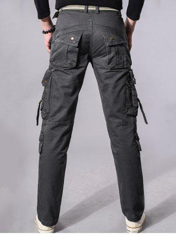 Store Buckle Embellished Zipper Pockets Design Cargo Pants - 34 GRAY Mobile