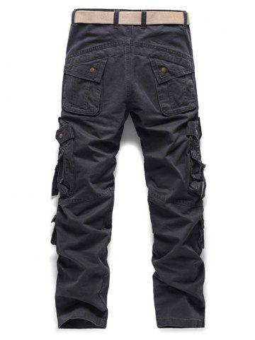 Affordable Buckle Embellished Zipper Pockets Design Cargo Pants - 34 GRAY Mobile