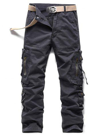 Fancy Buckle Embellished Zipper Pockets Design Cargo Pants - 30 GRAY Mobile