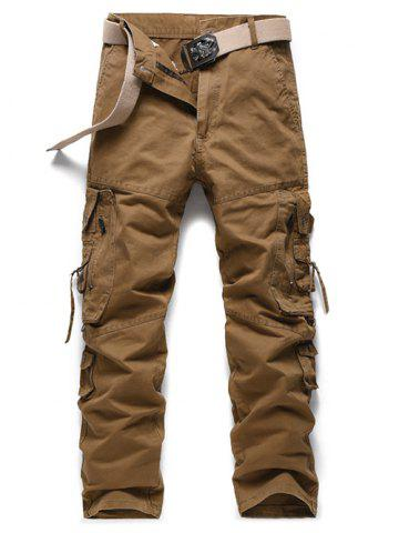 Store Buckle Embellished Zipper Pockets Design Cargo Pants - 40 EARTHY Mobile