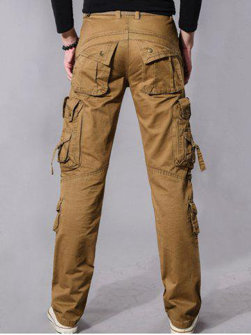 Outfits Buckle Embellished Zipper Pockets Design Cargo Pants - 36 EARTHY Mobile