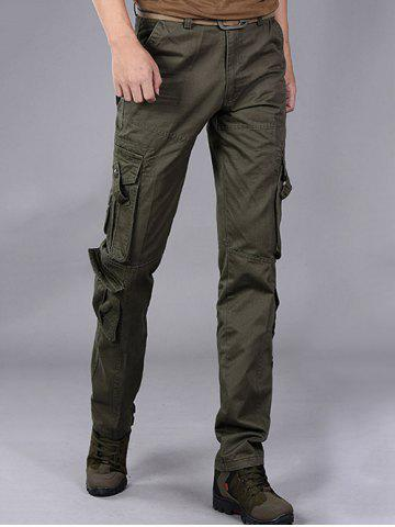 Sale Buttons Design Pockets Embellished Cargo Pants - 32 ARMY GREEN Mobile