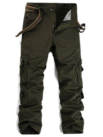 Store Buttons Design Pockets Embellished Cargo Pants - 32 ARMY GREEN Mobile