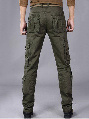 Chic Buttons Design Pockets Embellished Cargo Pants - 32 ARMY GREEN Mobile