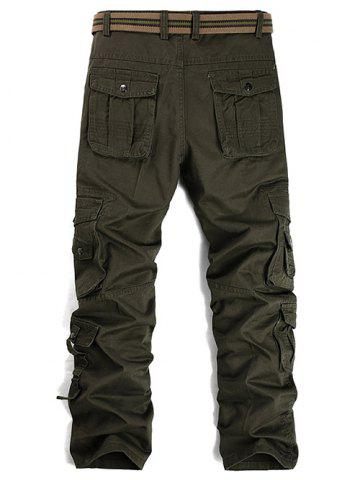 Chic Buttons Design Pockets Embellished Cargo Pants - 33 ARMY GREEN Mobile