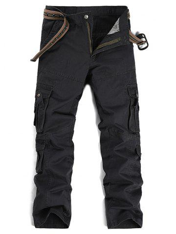 Discount Buttons Design Pockets Embellished Cargo Pants - 38 GRAY Mobile