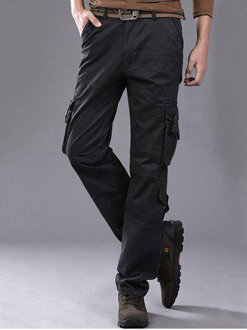 Fashion Buttons Design Pockets Embellished Cargo Pants - 36 GRAY Mobile