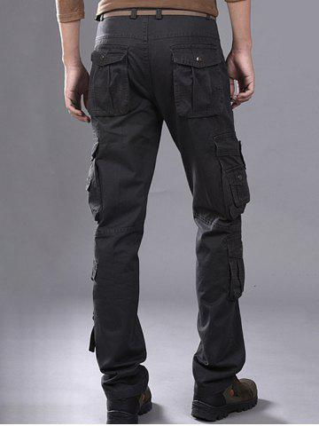 Shops Buttons Design Pockets Embellished Cargo Pants - 36 GRAY Mobile